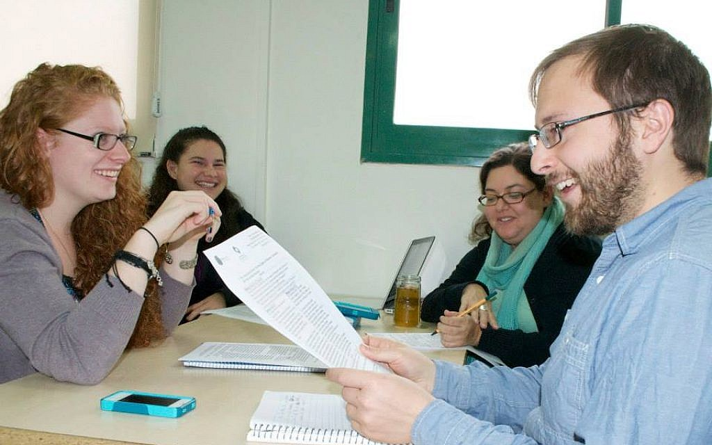 Pardes students discuss a Jewish text about constructive conflict (photo credit: Andrea Wiese/courtesy of Pardes Institute)
