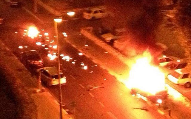 A car exploded in south Tel Aviv Saturday night, killing the occupant. (photo credit: Hatzala rescue service, Facebook)