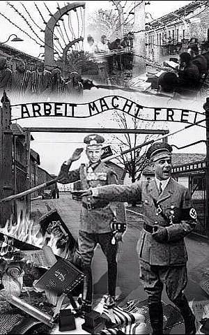 A picture circulated on Facebook on Monday, February 26, 2014, depicts Finance Minister Yair Lapid and Economy Minister Naftali Bennett as Nazis outside the gates of the Auschwitz concentration camp. (screen capture: Facebook)