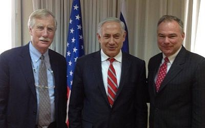 Prime Minister Benjamin Netanyahu, center, meets with Senators Angus King, left, and Tim Kaine, right, in Jerusalem in 2014 (Dan Shapiro/Facebook)