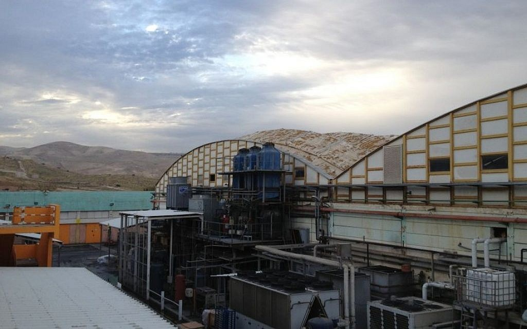 The SodaStream plant in Mishor Adumim, a former IDF munitions factory, overlooks the Judean Hills (photo credit: Elhanan Miller/TOI)