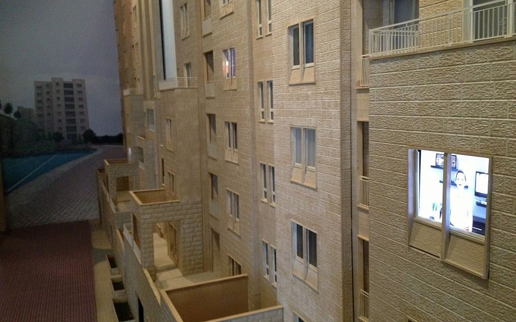 A model of Rawabi in the project's visitors' center (photo credit: Elhanan Miller/Times of Israel)