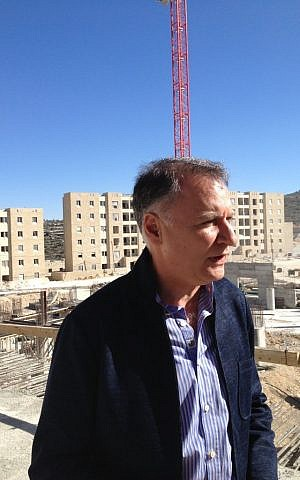 Bashar Masri at Rawabi's construction site (photo credit: Elhanan Miller/Times of Israel)