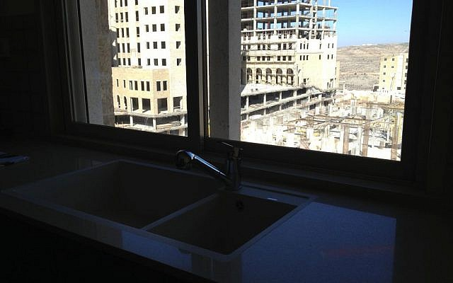 A view from the kitchen in Rawabi's model apartment (photo credit: Elhanan Miller/Times of Israel)