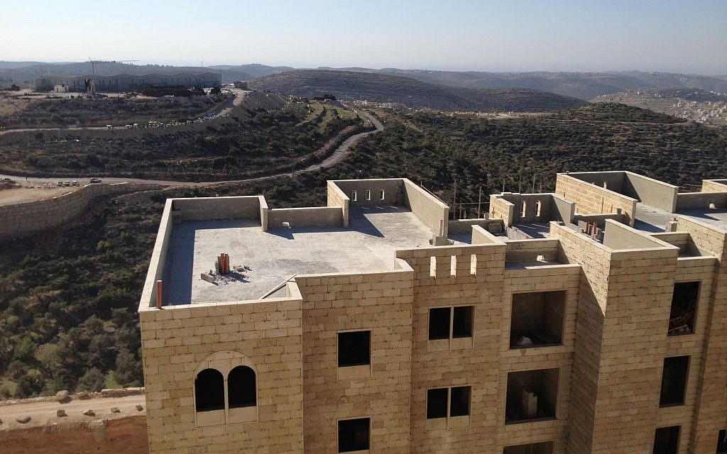 A view from the balcony of a ninth-floor Rawabi apartment (photo credit: Elhanan Miller/Times of Israel)