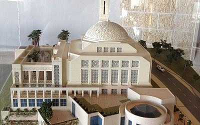 A model of Rawabi's mosque in the visitors' center (photo credit: Elhanan Miller/times of Israel)