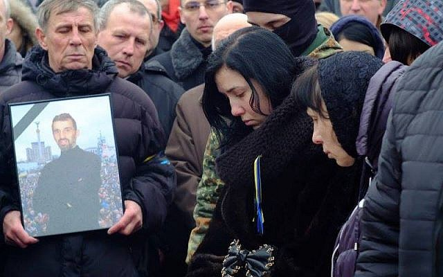Alexander Scherbatyuk 's funeral in Chernivtsi, Ukraine on February 23, 2014. (courtesy World ORT)