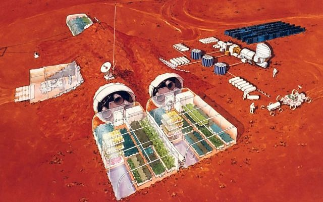 A conceptional illustration of a potential Mars colony (photo credit: Courtesy NASA)