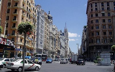 Madrid, Spain's famous Gran Via avenue (photo credit: a_rajo/Wikimedia Commons/File)