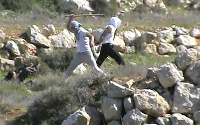 Footage provided by Ta'ayush reportedly shows settlers attacking their activist in the South Hebron Hills (Photo credit: Youtube screen capture)