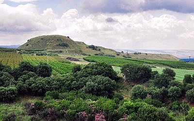 The tell of Abel Beth Maacah from the northwest, with the Golan Heights in the background. (photo credit: Ferrell Jenkins)