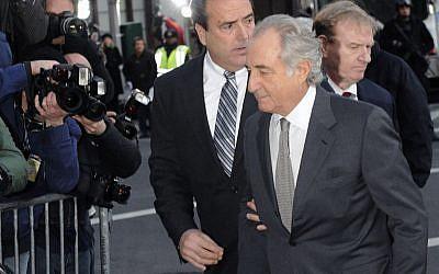 Bernard Madoff arrives at Manhattan federal court, Thursday, March 12, 2009, in New York. (photo credit: AP Photo/ Louis Lanzano)