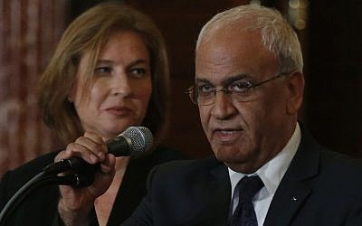 Peace negotiators Tzipi Livni and Saeb Erekat at the State Department in Washington, Tuesday, July 30, 2013.  (photo credit: AP/Charles Dharapak)