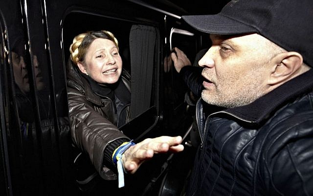 Former Ukrainian Prime Minister Yulia Tymoshenko is greeted by supporters shortly after being freed from prison in Kharkiv, Ukraine, Saturday, Feb. 22, 2014. Tymoshenko said she will run for president in May. (photo credit: AP/Sergey Kozlov)