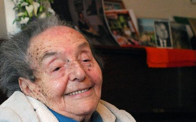 Alice Herz-Sommer, now 110 and pictured here on her 107th birthday, is the subject of an Oscar-nominated documentary. (Polly Hancock/JTA)