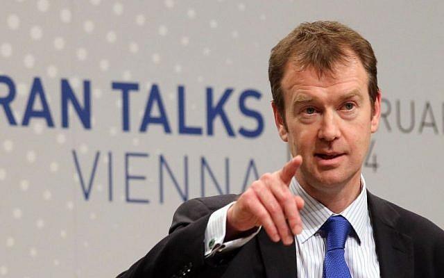 Michael Mann, spokesperson for EU foreign policy chief Catherine Ashton on Tuesday, February 18, 2014 (photo credit: AP Photo/Ronald Zak)