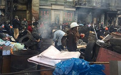 Protesters manning a barricade in downtown Kiev last month (photo credit: courtesy of JDC)