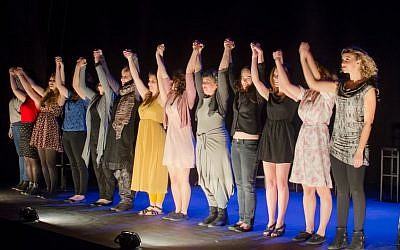 "The actresses in ""Vagina Monologues"" take a bow. (photo credit: Steven Winston http://stevenwinston.com)"