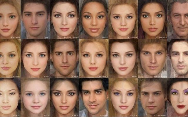 Karen Graw used real people features to create mug shots of Disney characters, as seen from the top left: Rapunzel, Flynn Rider, Mother Gothel, Tiana, Charlotte LaBouffe, Esmerelda, Frollo, Giselle, Jane, Tarzan, Cinderella, Belle, Prince Adam *the Beast, Gaston, Mulan, Alice, Jasmine, Aladdin, Aurora, Prince Philip, Maleficent, Cruella Deville, Meg, Hercules, Pocahontas, Snow White, The Evil Queen, Ariel, Prince Eric, (Courtesy Karen Graw)