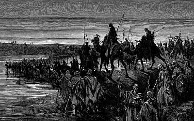 """The Children of Israel crossing the Jordan,"" by Gustave Doré (photo credit: Wikimedia Commons)"