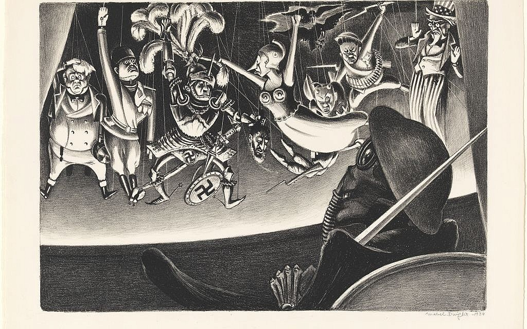 Mabel Dwight, 'Danse Macabre,' lithograph, c. 1933–34. Mary and Leigh Block Museum of Art, Northwestern University, 1995.5. Hitler is depicted in the suit of armor.