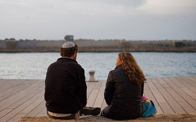A Jewish couple enjoys Valentine's Day at the waterfront in Tel Aviv. (photo credit: Dima Vazinovich/Flash90)