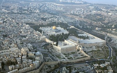An aerial view of the Temple Mount, with the southern wall and archaeological park in the foreground. (photo credit: Yossi Zamir/Flash 90)