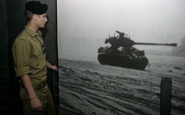 A soldier at the Armored Corps Memorial Site and Museum in Latrun, Israel on April 18,2010 (photo credit: Abir Sultan/Flash 90)