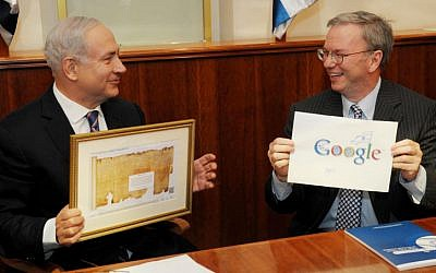 Israeli Prime Minister Benjamin Netanyahu (left) meets with executive chairman of Google, Eric Schmidt, in Jerusalem on June 19, 2012. (photo credit: Amos Ben Gershom/Flash90)
