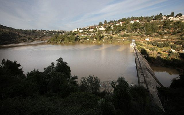 View of the Beit Zait dam and reservoir full of water, January 12, 2013. (photo credit: Yossi Zamir/Flash 90)