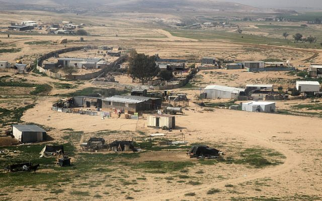 A February 2013 shot of an unrecognized Bedouin village in the Negev (photo credit: Nati Shohat/ Flash 90)