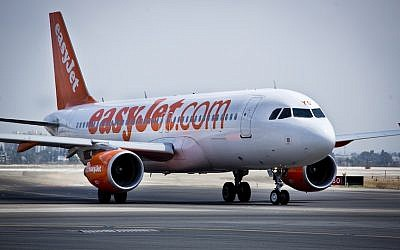 File. An Easyjet Airline flight at Ben Gurion International Airport (Moshe Shai/FLASH90)