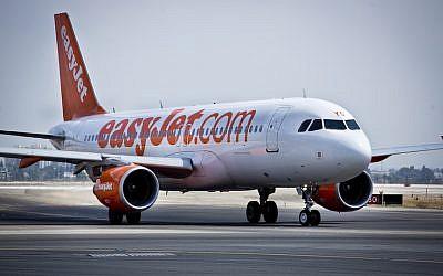 File. An Easyjet Airline flight at Ben Gurion International Airport (Moshe Shai/FLASH90)