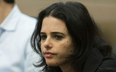 MK Ayelet Shaked (Jewish Home) in the Israeli parliament on January 15, 2014. (photo credit: Flash90)
