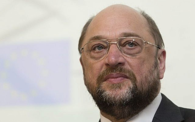 President of the European Parliament Martin Schulz is seen before receiving an honorary doctorate from the Hebrew University, during a ceremony in Jerusalem, on Tuesday, February 11, 2014. (photo credit: Flash90)