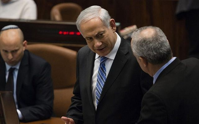 Prime Minister Benjamin Netanyahu seen during an assembly session in the plenum hall of the Israeli parliament on February 12, 2014. (Photo credit: Flash90)
