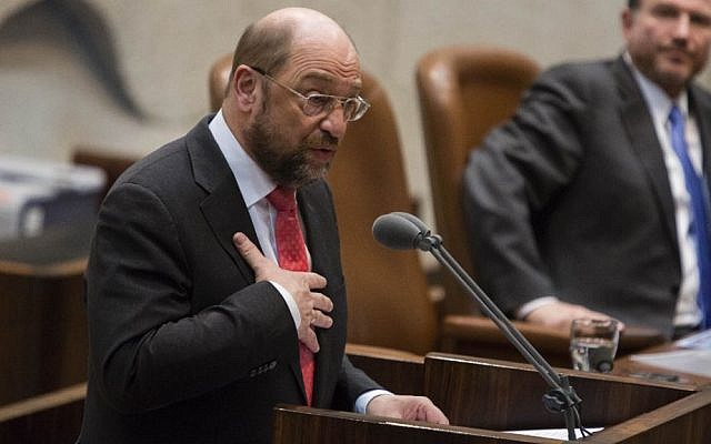 President of the European Parliament Martin Schulz addresses the Israeli parliament in Jerusalem on February 12, 2014.  (Photo credit: Flash90)