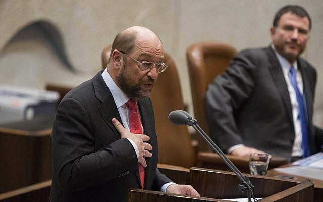 President of the European Parliament Martin Schulz gives a speech on Wednesday to the Knesset. His comment about water usage caused Knesset members to storm out of the assembly (photo credit: Flash90)