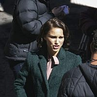 Natalie Portman, seen in Jerusalem's Nahlaot neighborhood in a scene from 'A Tale of Love and Darkness,' February 11, 2014. (Photo credit: Yonatan Sindel/Flash 90)
