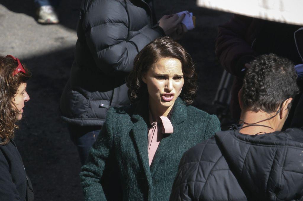 Natalie Portman, seen in Jerusalem's Nahlaot neighborhood in a scene from, 'A Tale of Love and Darkness,' February 11, 2014 ( Photo credit: Yonatan Sindel/Flash 90)