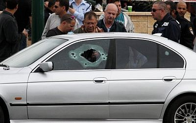The car in which 27-year old Taher Lalah was shot to death by masked gunmen in central Tel Aviv (photo credit: Roni Schutzer/Flash90)