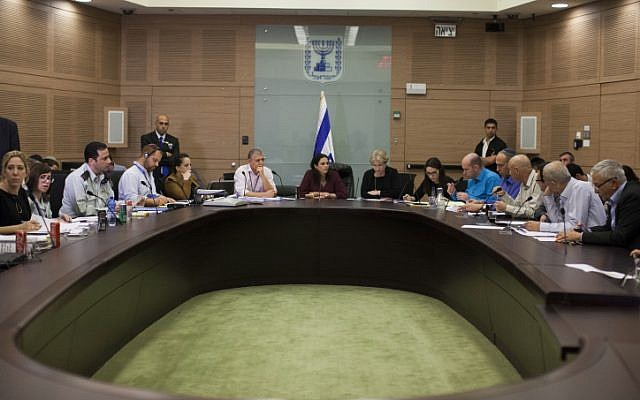 File: MKs deliberate over a bill to enforce ultra-Orthodox enlistment to the IDF during a Shaked Committee meeting at the Knesset on February 19, 2014. (photo credit: Yonatan Sindel/Flash90)