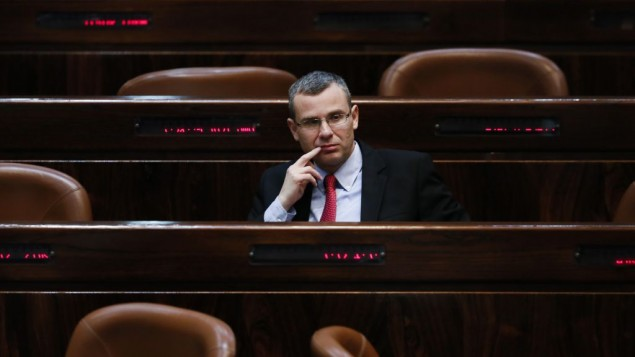 Likud MK Yariv Levin in the Knesset plenum on February 24, 2014 (photo credit: Miriam Alster/Flash90)
