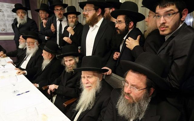 "Factions of the ultra-Orthodox community's Shas Council of Torah Sages, Hassidic Agudat Yisrael and Lithuanian Degel Hatorah meet Monday evening February 24 in Bnei Brak to plan a ""million-man rally"" against a military draft bill, by the Shaked Committee, which aims to increase Haredi participation in the IDF.(Photo credit: FLASH90)"