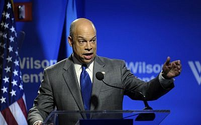 Homeland Security Secretary Jeh Johnson gives his first major address, Friday, Feb. 7, 2014, at the Wilson Center in Washington. (Susan Walsh/AP)