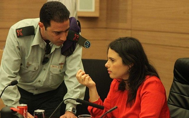 MK Ayelet Shaked leading the Shaked Committee, on February 10, 2014. (photo credit: GPO)