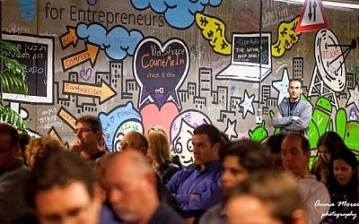 Entrepreneurs gather at the Google campus in Tel Aviv. (Anna Morein)