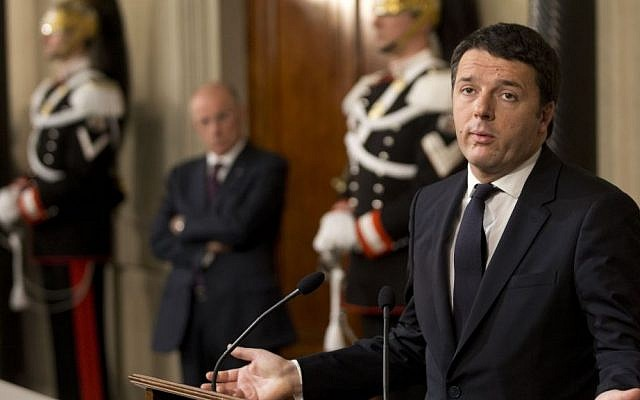 Italian Democratic Party's leader Matteo Renzi talks to journalists at the Quirinale presidential palace in Rome after talks with Italian President Giorgio Napolitano, Monday, Feb. 17, 2014. (photo creditAP Photo/Alessandra Tarantino)