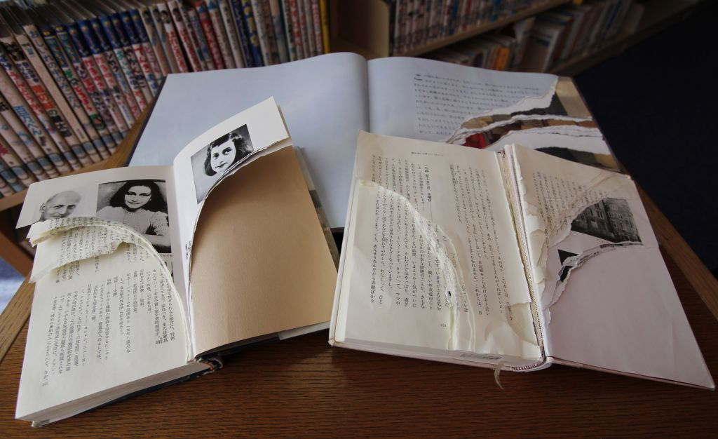 Image of: Cah Ripped Copies Of Anne Franks diary Of Young Girl And Related Books Are The Times Of Israel Vandalized Japanese anne Franks Diary Copies Replaced The Times