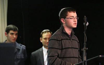 Zackary Kadish, 16, speaking at a fundraiser for his brother. (Courtesy Kadish family/JTA)